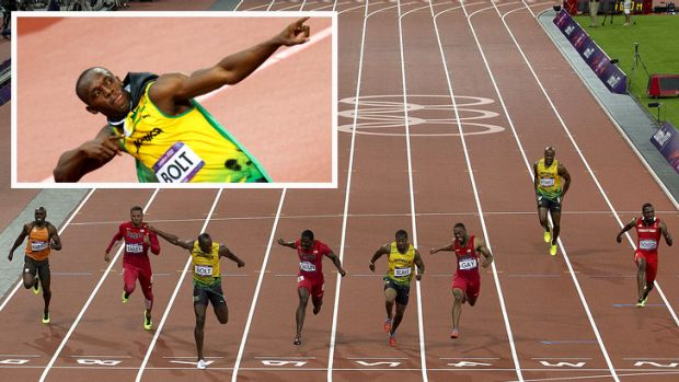Man on the moment ... Usain Bolt crossed the line in 9.63secs to win the men's 100m final.