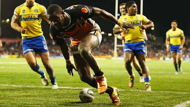 Raw talent ... Wests Tigers' Fijian winger Marika Koroibete scored four tries against the Eels.
