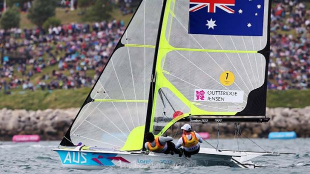 Australia's Nathan Outteridge and Iain Jensen compete in the men's 49er class on day seven.