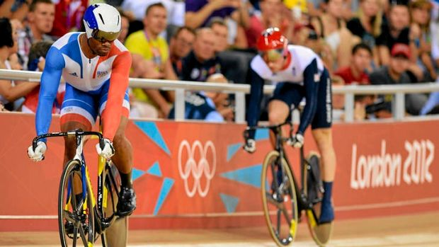 France's Gregory Bauge (left) and Britain's Jason Kenny compete during the London 2012 Olympic Games men's sprint final.