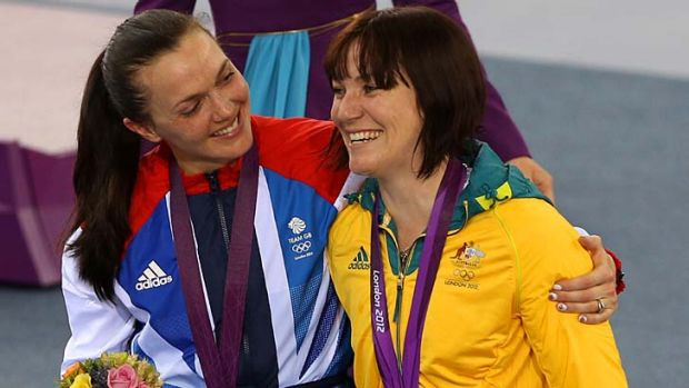 Words of congratulations ...  silver medallist Victoria Pendleton, left, puts an arm around Anna Meares.