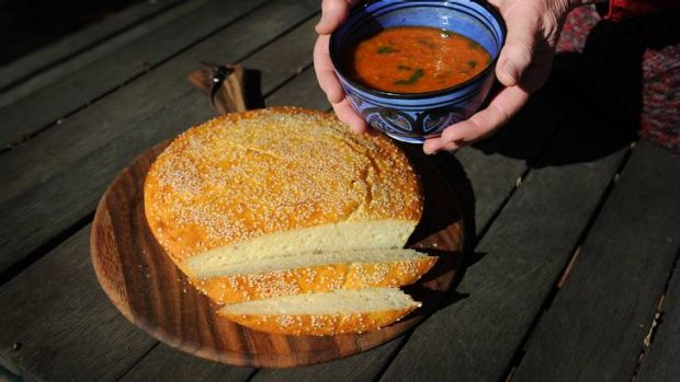 Moroccan red lentil soup with quick semolina bread.