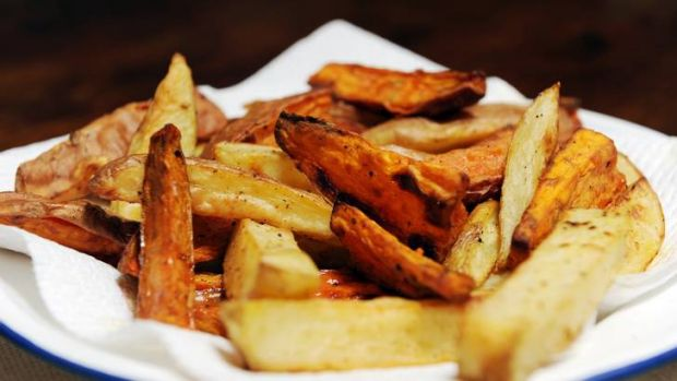 Kumara and potato wedges, to go with lentil burgers.