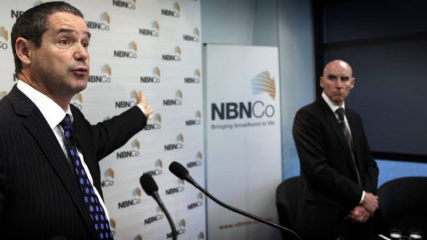 Communications Minister Senator Stephen Conroy, left, with NBN Co CEO Mike Quigley.
