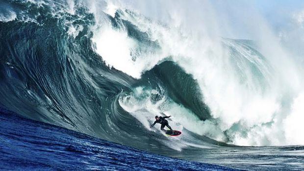 Extraordinarily exhilarating … Ross Clarke-Jones bumps down the face of a giant wave at Shipstern Bluff off the ...