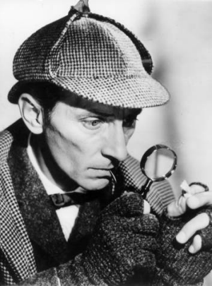 Peter Cushing stars as Sherlock Holmes in the film The Hound Of The Baskervilles from 1958.