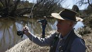 Trout fishing , Laurie Muldoon casting on the Macdonald River at BendameerPic Nick Moir 7 Aug ust 2012