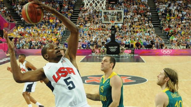 Kevin Durant ... jumps for the ball during his team's match against Australia.