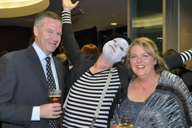 Chris and Ann Dunstan with (centre) Pogo the Mime (Pablo Latona).