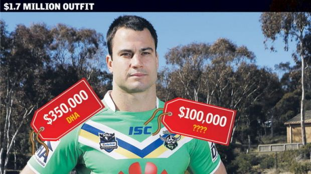 David Shillington shows off the, almost complete, Raiders 2013 uniform, set to have the Canberra players emblazoned with ...