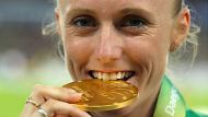 DAEGU, SOUTH KOREA - SEPTEMBER 04:  Gold medalist Sally Pearson of Australia celebrates on the podium with her medal for ...