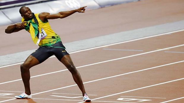 Usain Bolt ... playing up to the crowd.