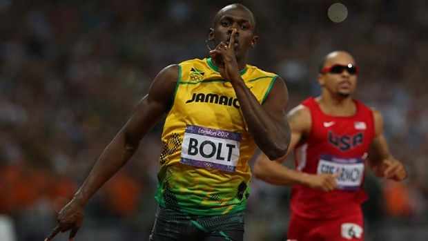 Message to his critics ... Usain Bolt puts a finger to his lips.