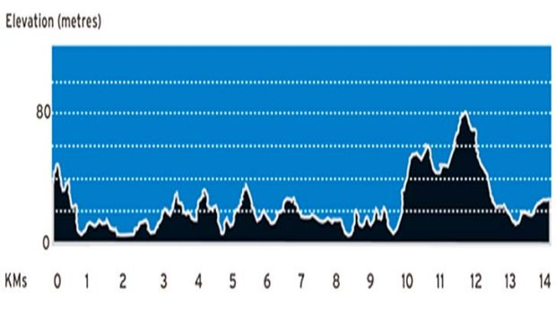 A elevation graph reveals the inclines runners will face in the brisbanetimes.com.au City2South.