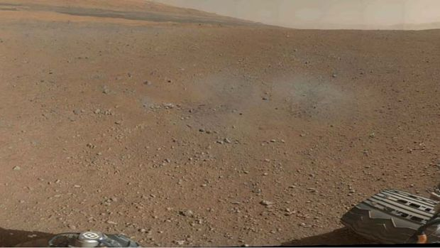 360-degree, full-resolution panorama from NASA's Curiosity rover shows area all around the rover within Gale Crater on Mars.
