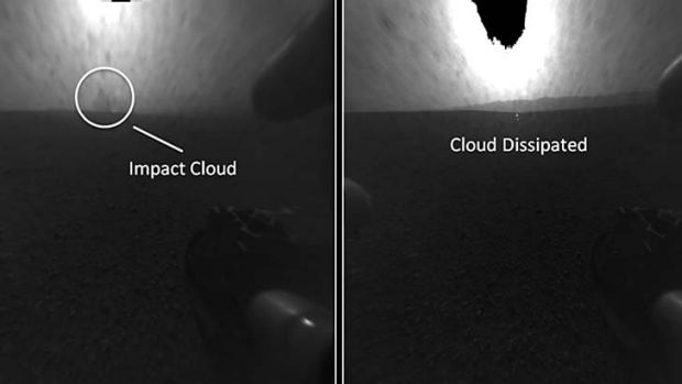 These before-and-after imagesshow a plume of dust, left, that disappeared. NASA thinks a camera aboard Curiosity caught ...