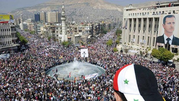 Troubled minority ... pro-Assad protesters fear sectarian violence and retribution if the rebels take power.