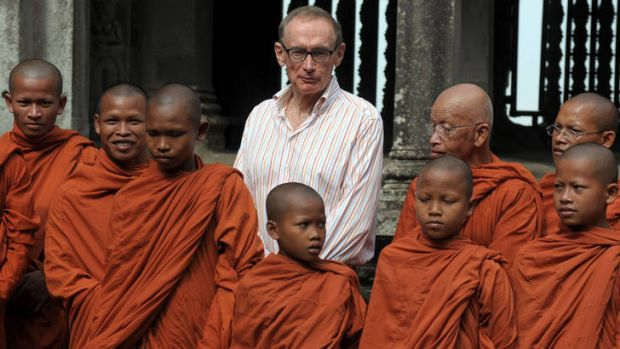 Bob Carr with Buddhist monks during a visit to Cambodia in March.