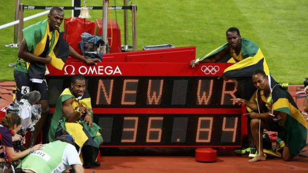 On top of the world ... Usain Bolt (top left), Yohan Blake (bottom left), Nesta Carter (top right) and Michael Frater.