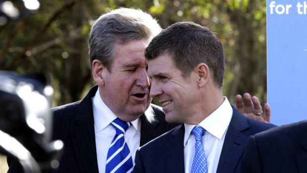 Dividends down ... Barry O'Farrell and Mike Baird.