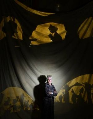 Operatic shadows: Director Nancy Black on the set for Master Peter's Puppet Show.