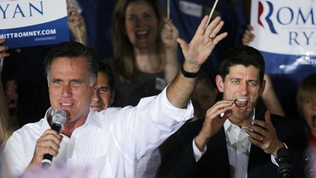 Dream team … the Republican candidate, Mitt Romney, and his vice-presidential running mate, Paul Ryan, hit the ...