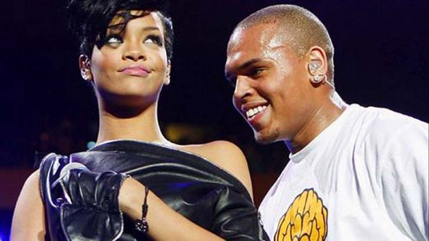 Chris Brown and Rihanna on stage in 2008.