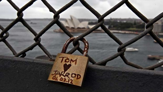 True love gets a bit rusty sometimes … one of the ''love locks'' on the Harbour Bridge. The Roads & Maritime ...