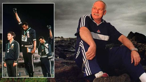 Peter Norman ... and, inset, receiving his medal in 1968 in Mexico.