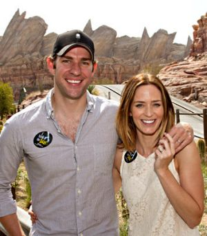 Quiet wedding ... Emily Blunt and John Krasinski.