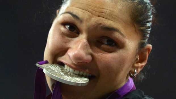 Upgrade ... Valerie Adams swapped her silver medal for gold.