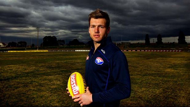 Top Dog: Shaun Higgins, pictured at Whitten Oval yesterday, wants a leadership role at the Western Bulldogs.