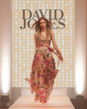 Samantha Harris models a design by Zimmermann at the David Jones spring/summer fashion launch.