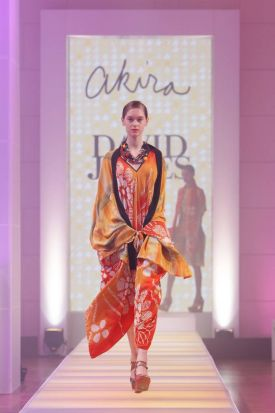 Models showcase a design by Akira at the David Jones spring/summer fashion launch.