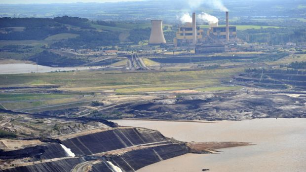 Flooding at the Yallourn power station earlier this year.