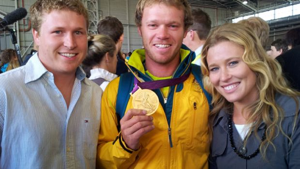 Nathan Outteridge ... gold medallist in the men's sailing 49er skiff class with his brother Beau and sister Haylee.