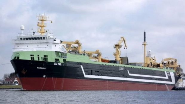 Biggest ever ... the FV Margiris giant fishing trawler that will operate in Australian waters.
