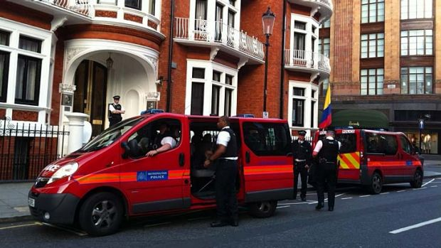 Police stationed outside the Ecuadorian embassy where Julian Assange remains.
