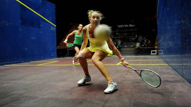 Donna Urquhart plays a shot during her match against Rachael Grinham.