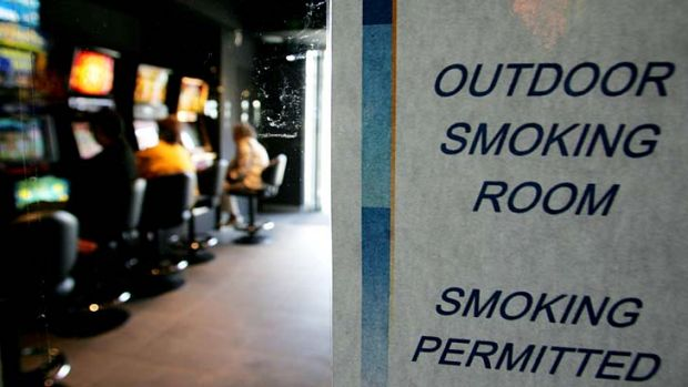 Escaped the bans ... outdoor gaming areas in NSW pubs and clubs are not covered by the new smoking bans.