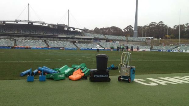 Sleet and snow hit the Canberra Raiders training session at Bruce today.