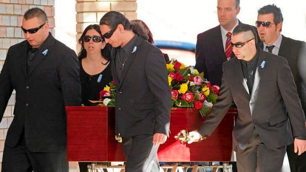 Hugo Novosadeck, left, and John-Paul Novosadek, third from left, with other family and friends at the funeral of Pablo, ...