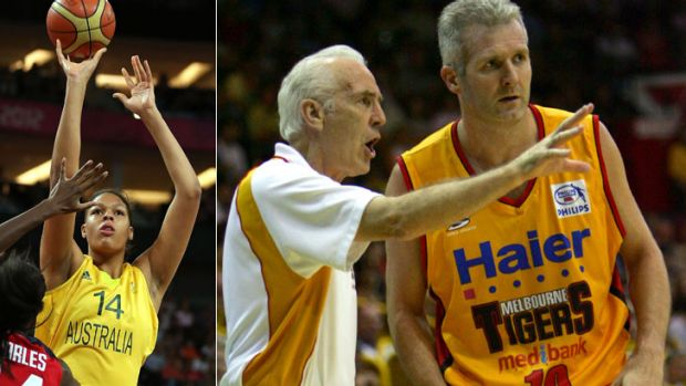 Hoops heaven ... Liz Cambage, left, and father-and-son duo Lindsay and Andrew Gaze, right.