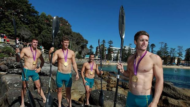 Back beachside ... the kayak golden four at South Steyne, David Smith, Tate Smith, Murray Stewart and Jacob Clear.