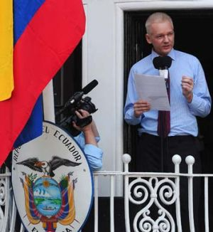 Julian Assange makes a statement from the balcony of the Ecuadorian Embassy in London.