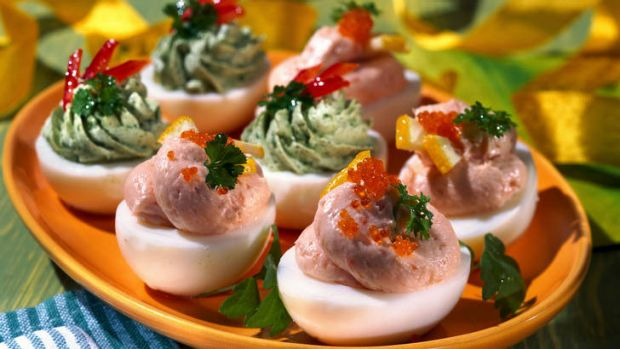 It seemed like a good idea at the time ... stuffed eggs with avocado cream and salmon mousse.