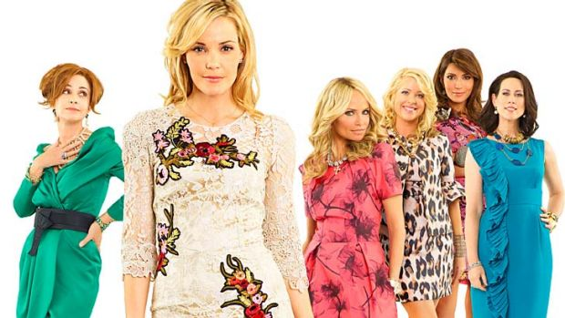 Getting even ... Annie Potts, Leslie Bibb, Kristin Chenoweth, Jennifer Aspen, Marisol Nichols and Miriam Shorgood in GCB.