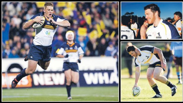 Former ACT and Wallabies player Clyde Rathbone in action for the Brumbies in 2004, left, and right, playing in the Wests ...