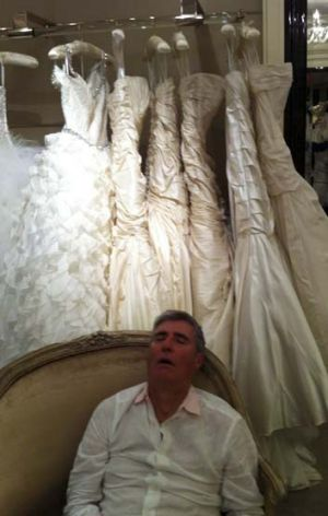 Rob Waterhouse throughly enjoying the wedding dress shopping experience.