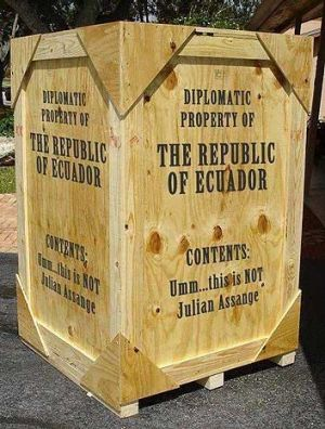 A picture of the spoof crate outside the Ecuadorian embassy,  posted on Twitter by @Baadermainow.